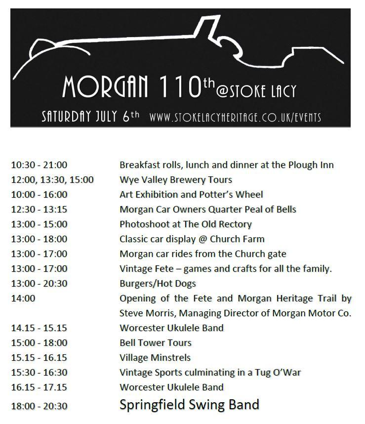 Morgan 100 Timetable 2