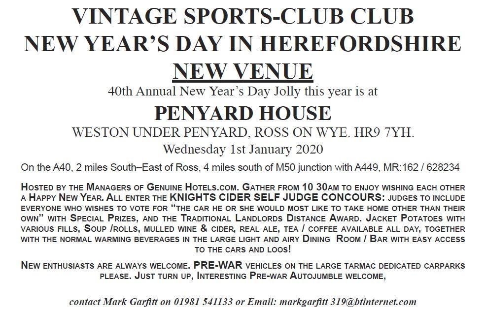 Penyard House PosterVSCC1stJan2020