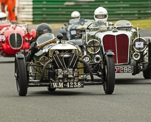 sue darbyshire during practice ahead of jerome fack in the brough superior and adam painter in the maserati 4cs copy
