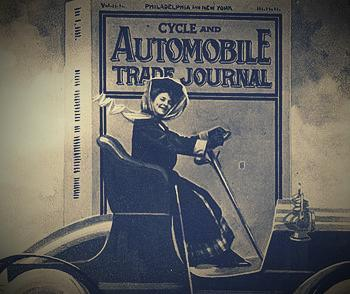 357px Cycle and Automobile Trade Journal woman in car with irate gentleman underneath An Old Friend 1re